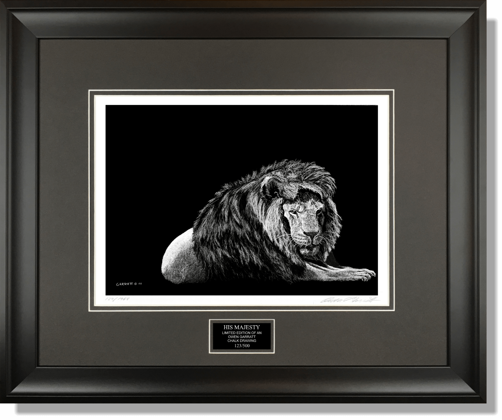 HIS MAJESTY - Wildlife art chalk art lion drawing by Owen Garratt framed